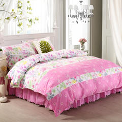 芦荟棉床裙四件套 1.2m(4英尺)床 爱有天意