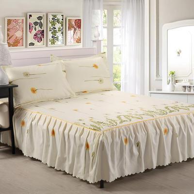 植物羊绒双层单件床裙 枕套一对 怡然花都