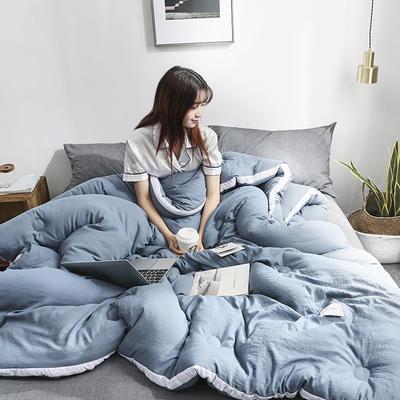 2019新款水洗棉立体被子冬被 150x200cm4斤 蓝灰
