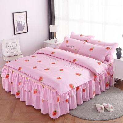 2020新款双边芦荟棉床裙四件套 1.2m床裙四件套 小草莓