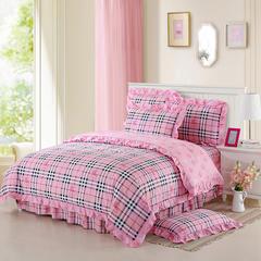 韩版全棉三件套床罩款 被套160*210 床罩120*200 巴宝莉-粉