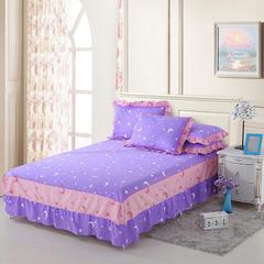 全棉韩版床裙单品可以配同款枕套 120cmx200cm 月亮之上-紫
