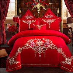 2018新款婚庆四件套结婚多件套大红全棉绣花套件 被套2*2.3米床单款(六件套) 幸福起点