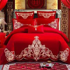 2018新款婚庆四件套结婚多件套大红全棉绣花套件 被套2.2*2.4米床盖款(六件套) 醉意红颜