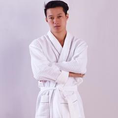毛巾家居服系列 均码 平纹格男士浴袍 白色