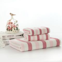 毛巾套巾 套巾系列 布艺彩条(套巾45元) 粉色(35*75)