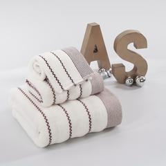 毛巾套巾 套巾系列 波浪纹套巾(套巾42元) 米白(34*72)