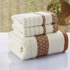 毛巾套巾 套巾系列 菱格套巾(套巾35元) 驼色(33*75)