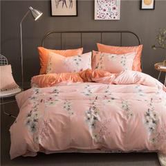 棉加绒四件套 被套160X210,床单180X230,枕套48X74X1 花田物语