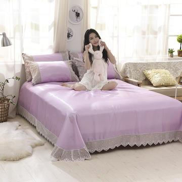 首尔 纯色冰丝席2018春夏新款  蕾丝款纯色软凉席系列 245*250cm三件套 水晶紫