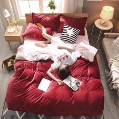 2018新款-加厚纯色法莱绒四件套 1.5m(5英尺)床 相思豆