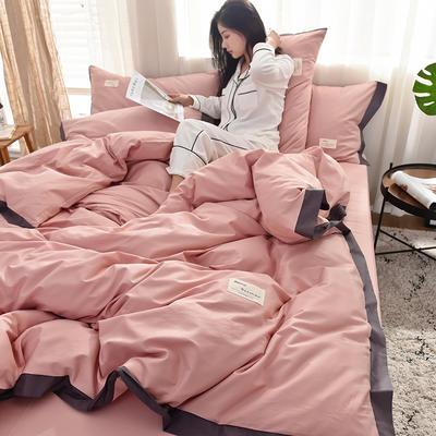 全棉可可款四件套纯棉宽边纯色四件套水洗棉 1.8m(6英尺)床 全棉-可可豆沙
