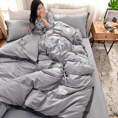 全棉可可款四件套纯棉宽边纯色四件套水洗棉 1.8m(6英尺)床 全棉-可可灰