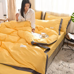 全棉可可款四件套纯棉宽边纯色四件套水洗棉 1.5m(5英尺)床 全棉-可可亮黄