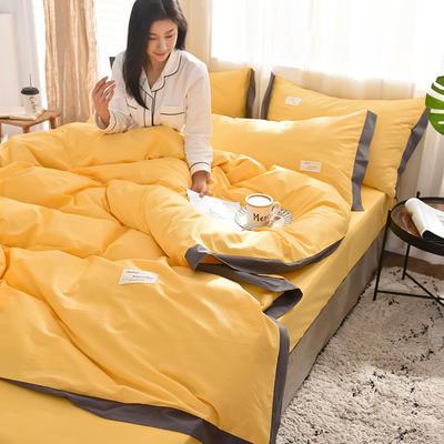 全棉可可款四件套纯棉宽边纯色四件套水洗棉 1.8m(6英尺)床 全棉-可可亮黄