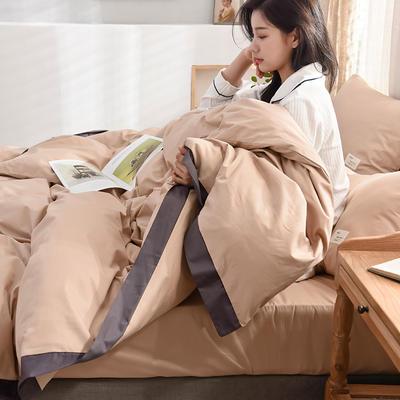 全棉可可款四件套纯棉宽边纯色四件套水洗棉 1.8m(6英尺)床 全棉-可可浅咖