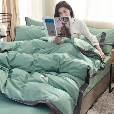 全棉可可款四件套纯棉宽边纯色四件套水洗棉 1.2m(4英尺)床 全棉-可可浅绿