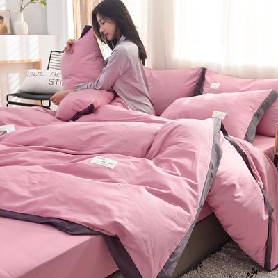 全棉可可款四件套纯棉宽边纯色四件套水洗棉 1.8m(6英尺)床 全棉-可可浅紫
