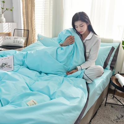 全棉可可款四件套纯棉宽边纯色四件套水洗棉 1.8m(6英尺)床 全棉-可可天空蓝
