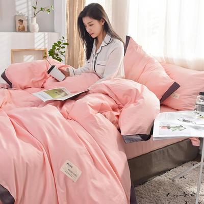 全棉可可款四件套纯棉宽边纯色四件套水洗棉 1.8m(6英尺)床 全棉-可可樱花粉