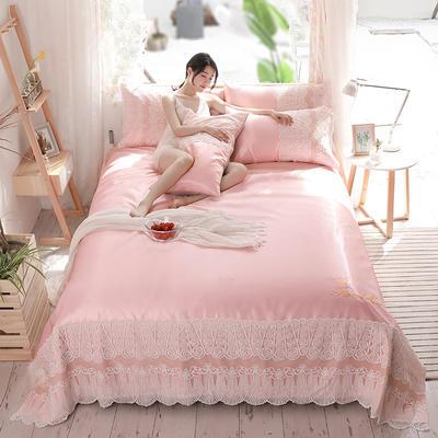 2019新款-【宽边蕾丝软席卡洛琳系列】 床单240*250三件套 卡洛琳-嫩粉