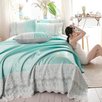 2019新款-【宽边蕾丝软席卡洛琳系列】 床单200*240两件套 卡洛琳-水绿