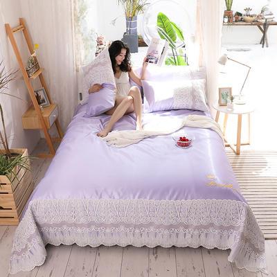 2019新款-【宽边蕾丝软席卡洛琳系列】 床单240*250三件套 卡洛琳-紫色