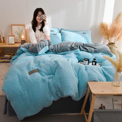(总)首尔家纺 羊羔绒轻奢款四件套 法莱绒牛奶绒水晶绒四件套 1.5m床单款四件套 羊羔绒轻奢款-淡蓝