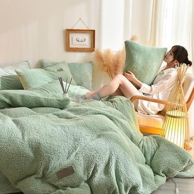 (总)首尔家纺 羊羔绒轻奢款四件套 法莱绒牛奶绒水晶绒四件套 1.5m床单款四件套 羊羔绒轻奢款-豆绿