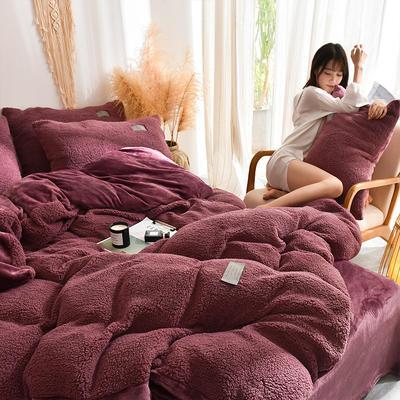 (总)首尔家纺 羊羔绒轻奢款四件套 法莱绒牛奶绒水晶绒四件套 1.5m床单款四件套 羊羔绒轻奢款-豆沙