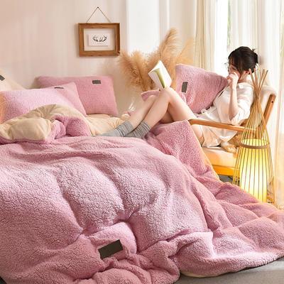 (总)首尔家纺 羊羔绒轻奢款四件套 法莱绒牛奶绒水晶绒四件套 1.2m床单款三件套 羊羔绒轻奢款-粉
