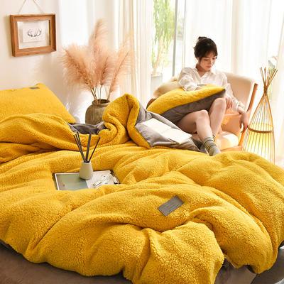 (总)首尔家纺 羊羔绒轻奢款四件套 法莱绒牛奶绒水晶绒四件套 1.5m床单款四件套 羊羔绒轻奢款-黄