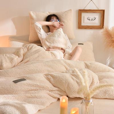 (总)首尔家纺 羊羔绒轻奢款四件套 法莱绒牛奶绒水晶绒四件套 1.5m床单款四件套 羊羔绒轻奢款-奶油白
