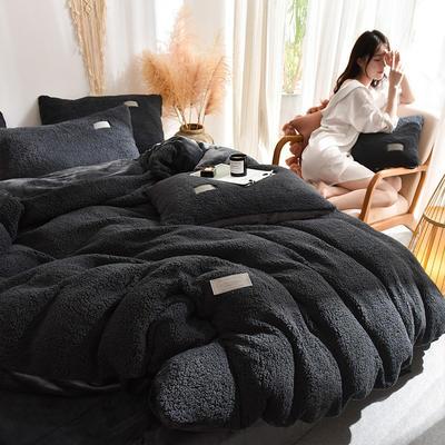 (总)首尔家纺 羊羔绒轻奢款四件套 法莱绒牛奶绒水晶绒四件套 1.5m床单款四件套 羊羔绒轻奢款-深灰