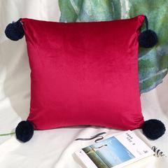 2018新款--素色加厚荷兰绒抱枕球球款 45*45cm含芯 N