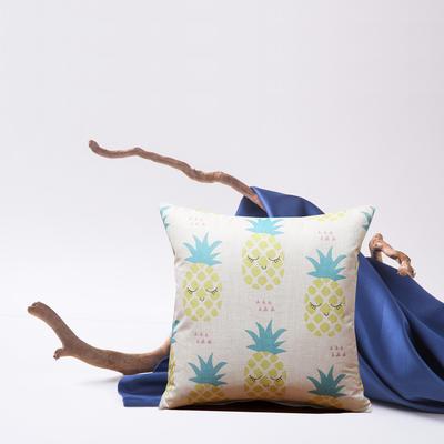 2019新款-亚麻抱枕靠垫新花色支持小批量定制欢迎选购 43*43cm 单靠垫套 小菠萝