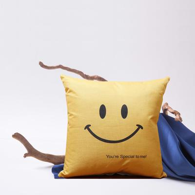 2019新款-亚麻抱枕靠垫新花色支持小批量定制欢迎选购 43*43cm 单靠垫套 笑脸