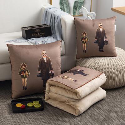 2020新款-加厚水晶絨抱枕被 40*40展開約1*1.5m 大叔與蘿莉
