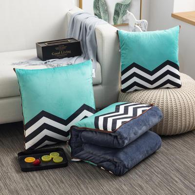 2020新款-加厚水晶絨抱枕被 40*40展開約1*1.5m 海浪