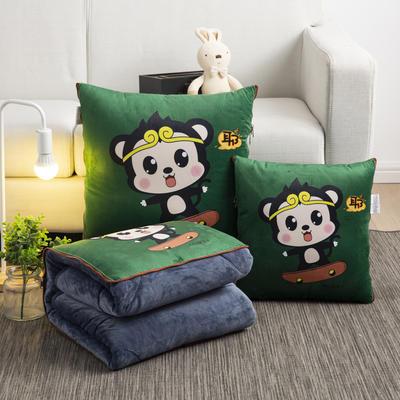 2020新款-加厚水晶絨抱枕被 40*40展開約1*1.5m 可愛小猴