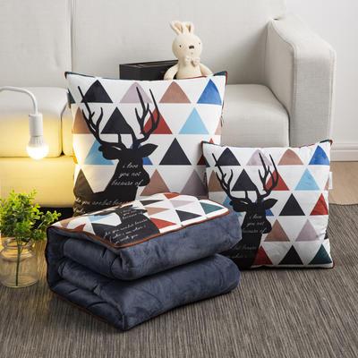 2020新款-加厚水晶絨抱枕被 40*40展開約1*1.5m 時尚鹿