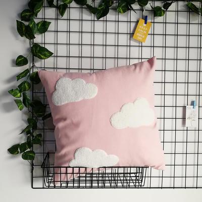 2020新款-細麻絨卡通毛巾繡抱枕 45x45cm含芯 云朵-粉