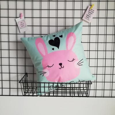 2020新款-短毛絨卡通印花抱枕靠墊贈品禮品 40*40cm(不含芯) 黑桃兔