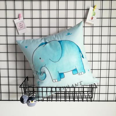2020新款-短毛絨卡通印花抱枕靠墊贈品禮品 40*40cm(不含芯) 藍色小象