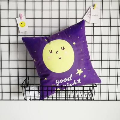 2020新款-短毛絨卡通印花抱枕靠墊贈品禮品 40*40cm(不含芯) 晚安-月圓