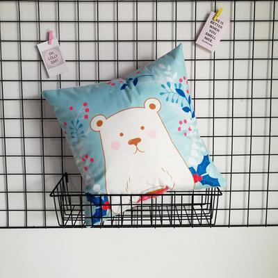 2020新款-短毛絨卡通印花抱枕靠墊贈品禮品 40*40cm(不含芯) 小奶熊