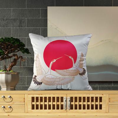 2020新款-輕奢中國風臻絲緞抱枕 48*48cm含芯 仙鶴逐日