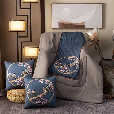 2020新款-輕奢中國風新中式古典刺繡60支全棉貢緞抱枕被 中號折起42*42 展開120*160 春濃棲雀