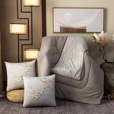 2020新款-輕奢中國風新中式古典刺繡60支全棉貢緞抱枕被 中號折起42*42 展開120*160 荷塘月色