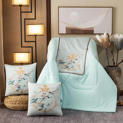 2020新款-輕奢中國風新中式古典刺繡60支全棉貢緞抱枕被 中號折起42*42 展開120*160 鏡花緣